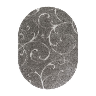 Tayse Scrollwork Transitional Scroll Shag Oval Rug