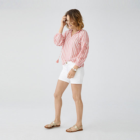 Love Now Wear Now St Johns Bay Embroided Blouse And Ana 5 Twill Midi Short