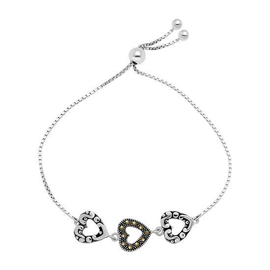Sparkle Allure Marcasite Box Heart Bolo Bracelet