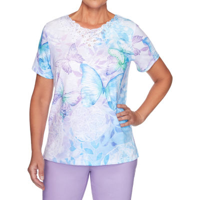 Alfred Dunner Plus Classics-Womens Round Neck Short Sleeve T-Shirt