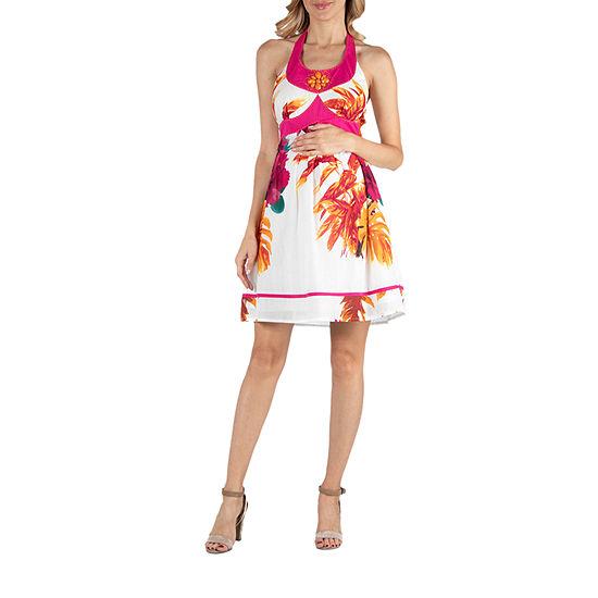24/7 Comfort Apparel Floral Print Beaded Halter A Line Dress