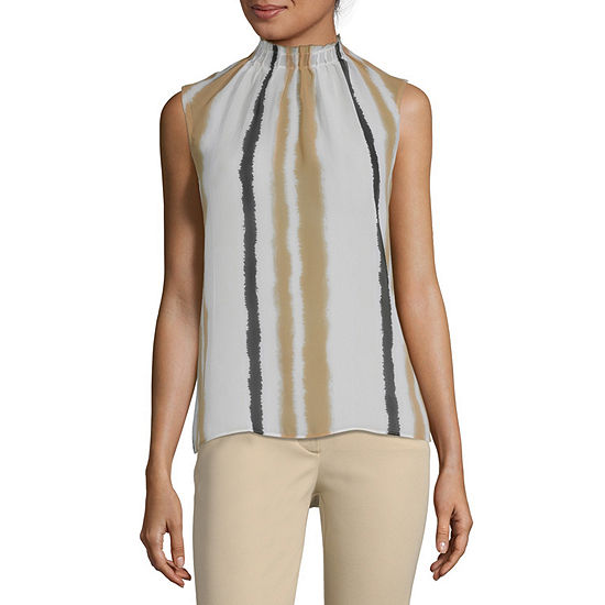 Worthington Womens Pintuck Shell Blouse - Tall