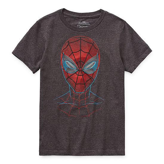 Disney Little & Big Boys Round Neck Spiderman Short Sleeve Graphic T-Shirt