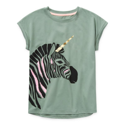 Arizona Little & Big Girls Round Neck Short Sleeve Graphic T-Shirt