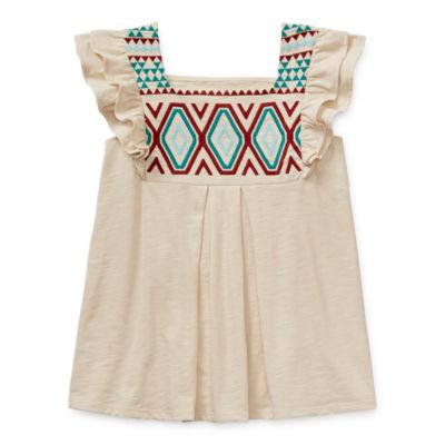 Arizona Little & Big Girls Square Neck Short Sleeve Embroidered Blouse