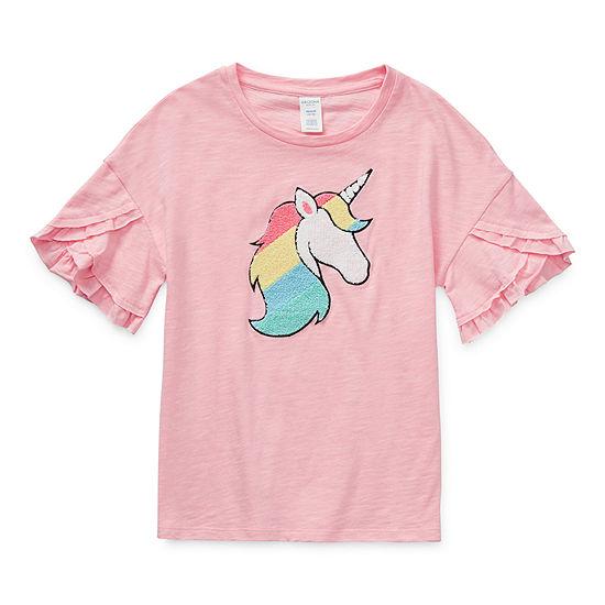 Eyeshadow Little & Big Girls Round Neck Short Sleeve Graphic T-Shirt
