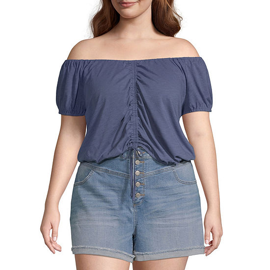 Arizona-Juniors Plus Womens Scoop Neck Short Sleeve Blouse