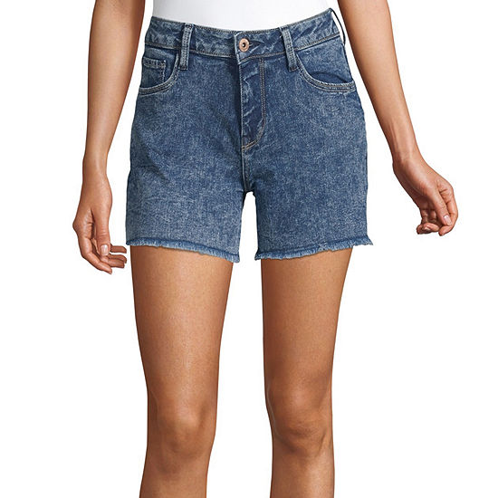 "Arizona Womens Mid Rise 4 1/2"" Denim Short-Juniors"