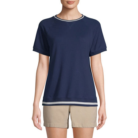 St. John's Bay-Womens Round Neck Short Sleeve T-Shirt, Small , Blue