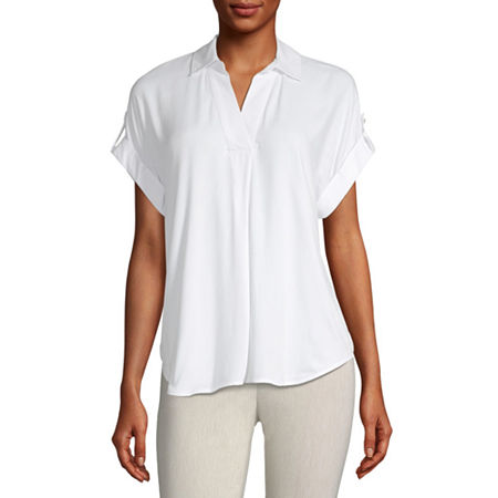 Liz Claiborne Womens Short Sleeve Twill Blouse, X-large , White