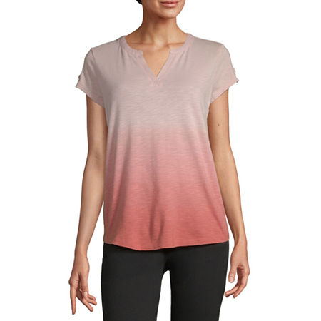 Liz Claiborne-Womens Split Crew Neck Short Sleeve T-Shirt, Small , Pink