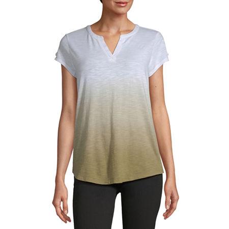 Liz Claiborne-Womens Split Crew Neck Short Sleeve T-Shirt, Small , Green