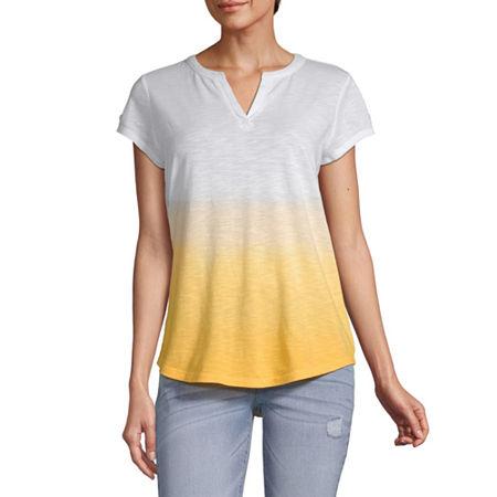 Liz Claiborne-Womens Split Crew Neck Short Sleeve T-Shirt, X-small , Yellow