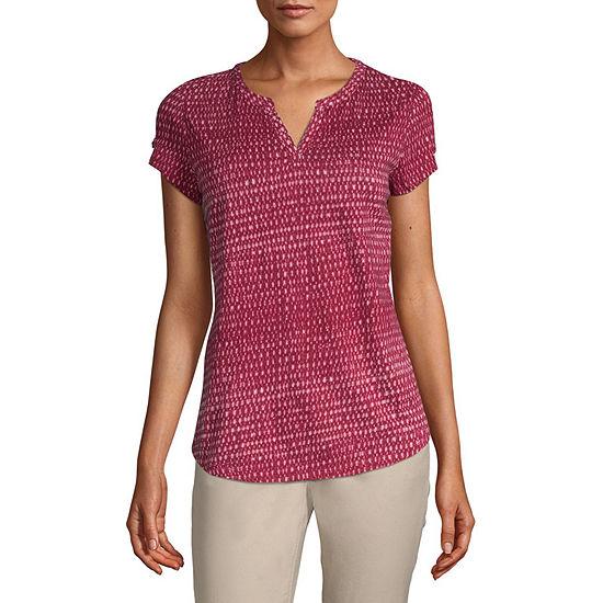 Liz Claiborne-Womens Split Crew Neck Short Sleeve T-Shirt