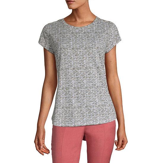 Liz Claiborne Womens Crew Neck Short Sleeve T-Shirt