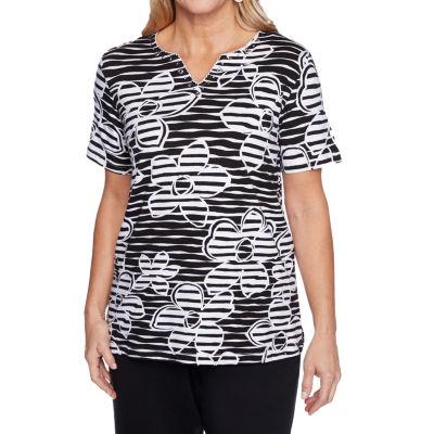 Alfred Dunner Clean Getaway Womens Split Crew Neck Short Sleeve T-Shirt