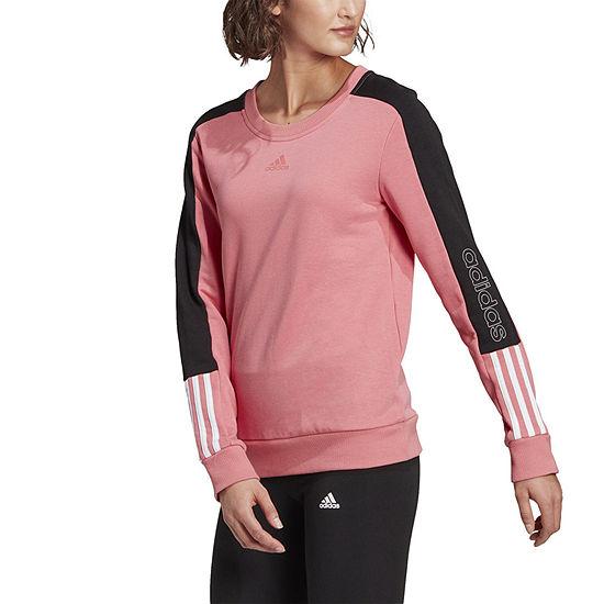 Adidas Essentials Logo Colorblock Womens Crew Neck Long Sleeve Sweatshirt