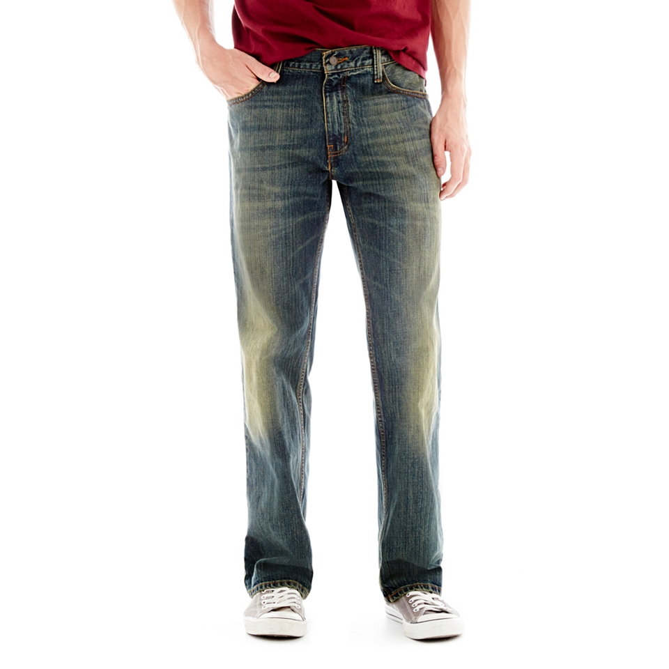ARIZONA Original Straight Medium Tint Jeans, Lt Vintage Destroy, Mens