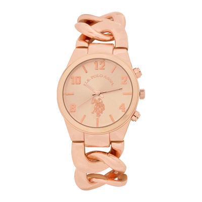 U.S. Polo Assn.® Womens Rose Gold-Tone Link Bracelet Watch