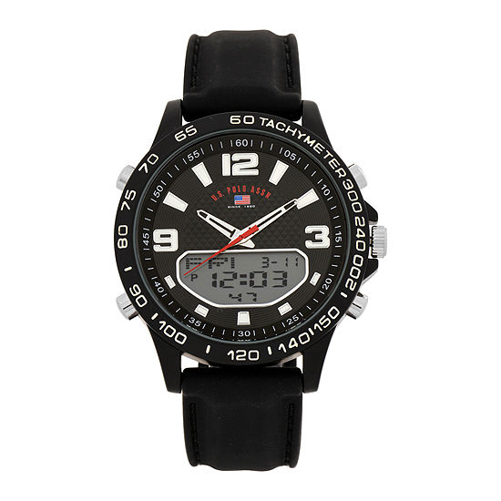 U.S. Polo Assn.® Mens All Black Strap Watch