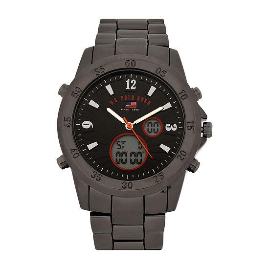 U.S. Polo Assn.® Mens Black Dial and Gunmetal Link Watch