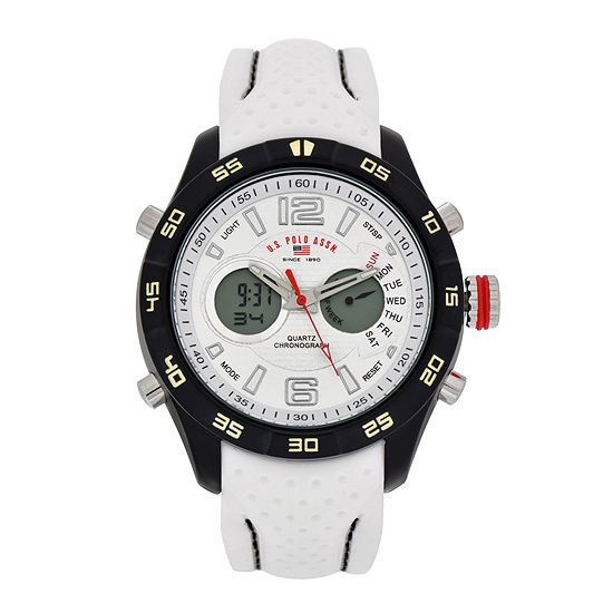 U.S. Polo Assn.® Mens White Rubber Strap Watch