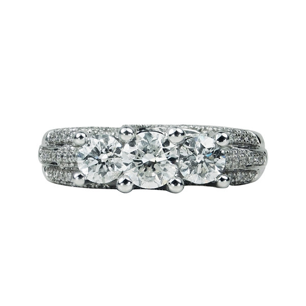 LIMITED QUANTITIES 1 3/4 CT. T.W. Diamond 14K White Gold 3-Stone Ring