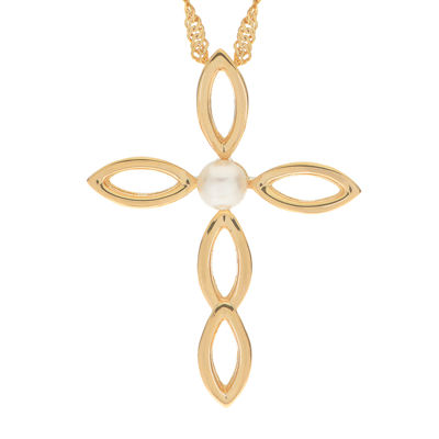 Cultured Freshwater Pearl 14K Gold Over Silver Cross Pendant
