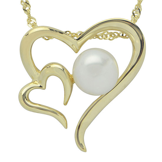 Cultured Freshwater Pearl 14K Gold Over Silver Heart Pendant