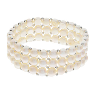 Cultured Freshwater Pearl Sterling Silver 3-Row Stretch Bracelet
