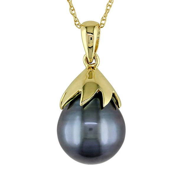 Black Tahitian Pearl 10K Yellow Gold Pendant Necklace