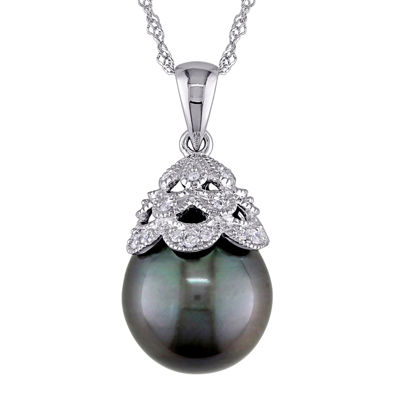 Black Tahitian Pearl and Diamond Accent 10K White Gold Pendant Necklace