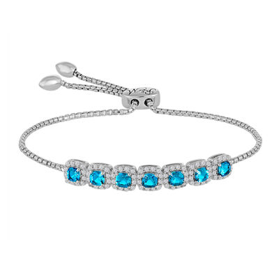 Rhythm And Muse Sterling Silver Genuine Blue Topaz & Lab Created White Sapphire Bracelet