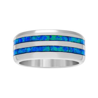 Genuine Blue Opal Sterling Silver Ring