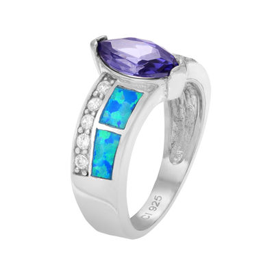 Genuine Blue Opal & White and Purple Cubic Zirconia Sterling Silver Ring