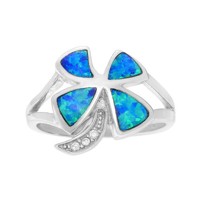 Simulated Blue Opal and Cubic Zirconia Sterling Silver Ring