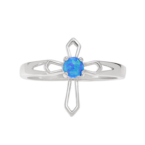 Genuine Blue Opal Sterling Silver Cross Ring