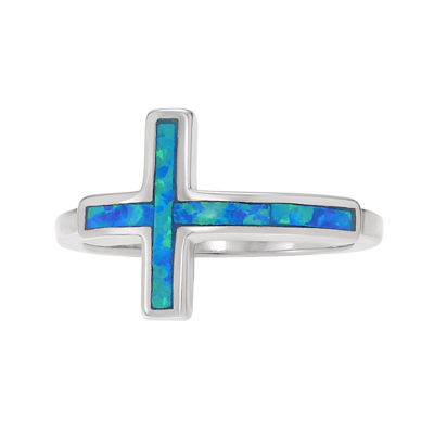 Simulated Blue Opal Sterling Silver Cross Ring