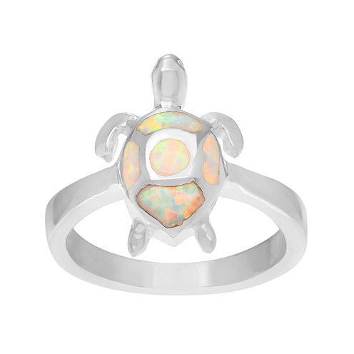 Genuine and Simulated White Opal Sterling Silver Turtle Ring