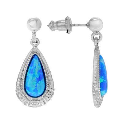 Simulated Blue Opal Sterling Silver Teardrop Dangle Earrings
