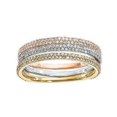 5/8 Diamond 14K Tri-Color Gold Trio Stackable Rings