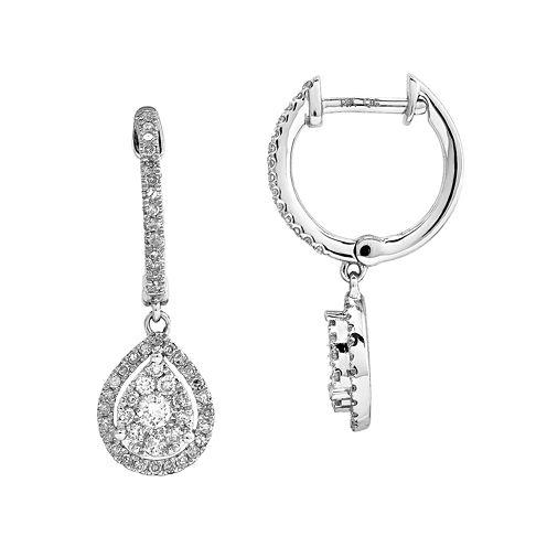 1/2 CT. T.W. Diamond 14K White Gold Pear-Shaped Dangle Earrings