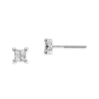 1/3 CT. T.W. Diamond 14K White Gold Earrings