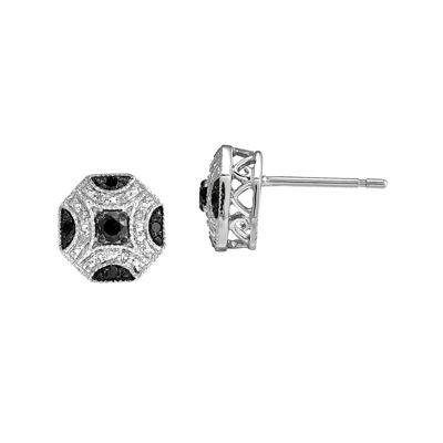1/4 CT. T.W. White & Color-Enhanced Black Diamond 14K White Gold Earrings