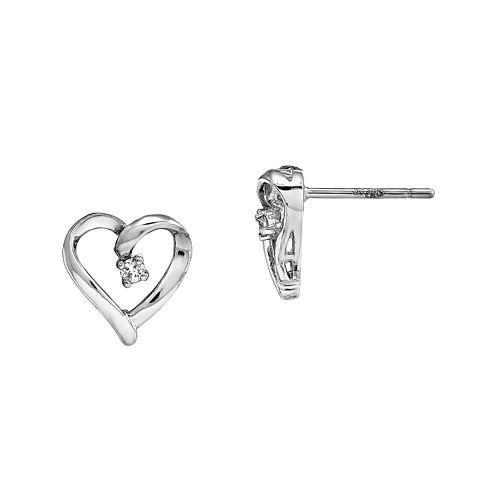 Diamond Accent 14K White Gold Heart Earrings