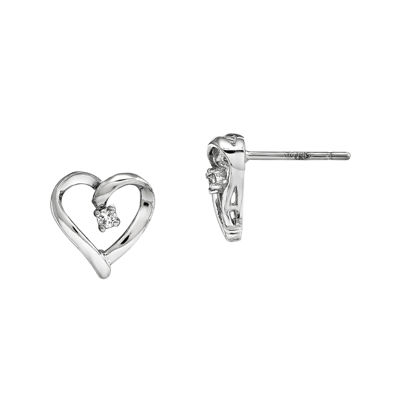 Diamond Accent 14K White Gold Heart Earrings