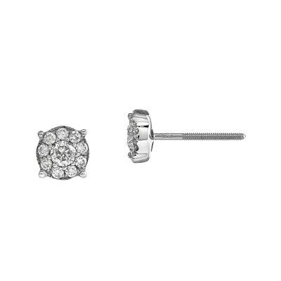 1/2 CT. T.W. Diamond 14K White Gold Flower Post Earrings