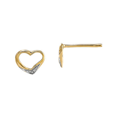 Diamond Accent 14K Yellow Gold Heart Earrings