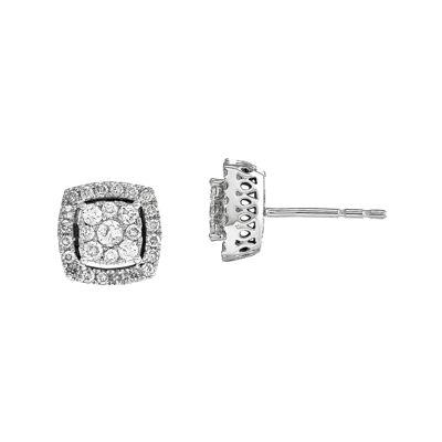 1/2 CT. T.W. Diamond 14K White Gold Square Post Earrings