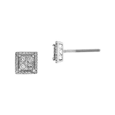 1/3 CT. T.W. Diamond 14K White Gold Square Post Earrings